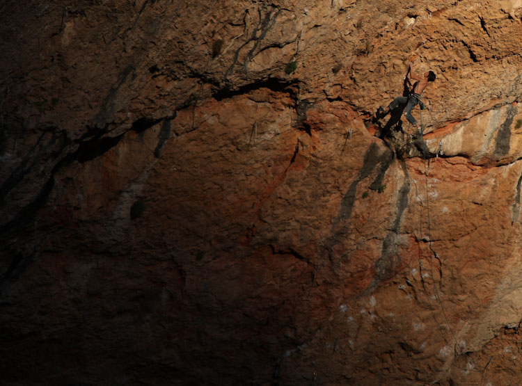 Climber sends one of the cave's mega extensions.