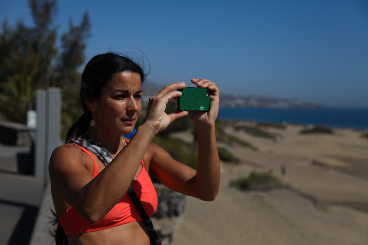 Daila getting her instagram on at the sand dunes.