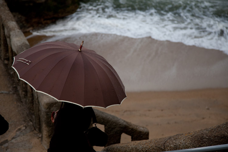 Seeking shelter from the storm Biarritz, France.