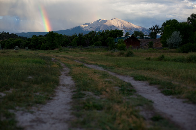 Rainbow view of Mount Sopris from my summer abode in Carbondale, CO.