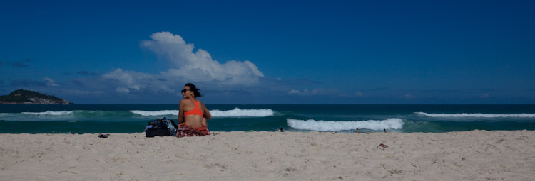 Olivia Hsu catching some rays and enjoying the view on the beach in Rio.
