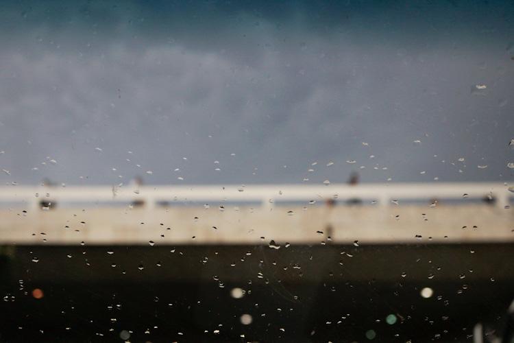 Rainy day driving through Brasilia, capital of Brazil.