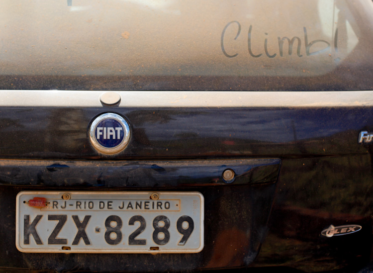 Climber's dusty car parked at Serra do Cipo, one of Brazil top climbing areas.
