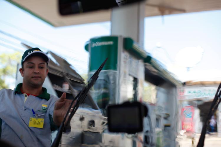 Gas station service in Brazil.