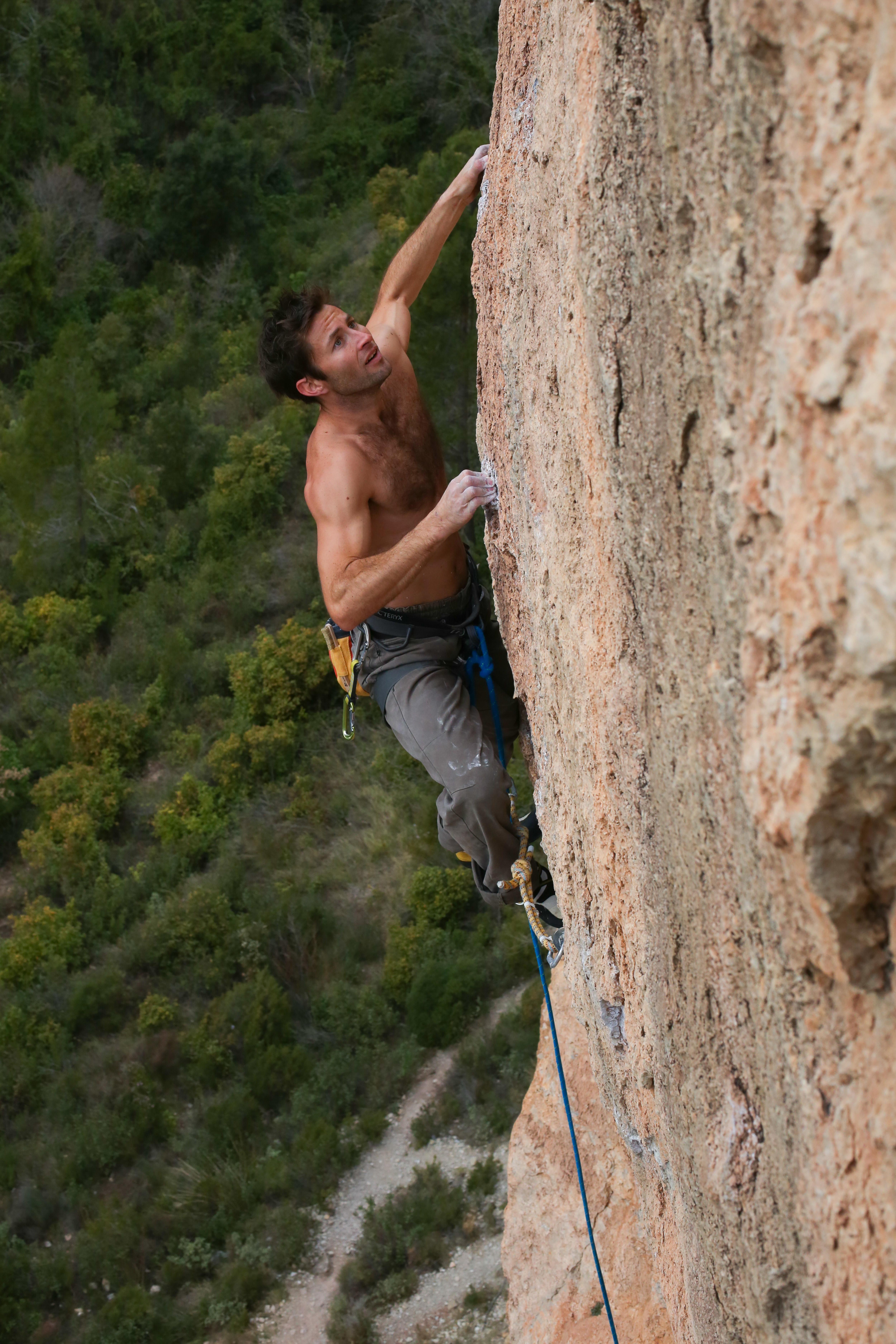Italian climber Andrea Polo climbs Zona Zero 8b in Siurana Spain.