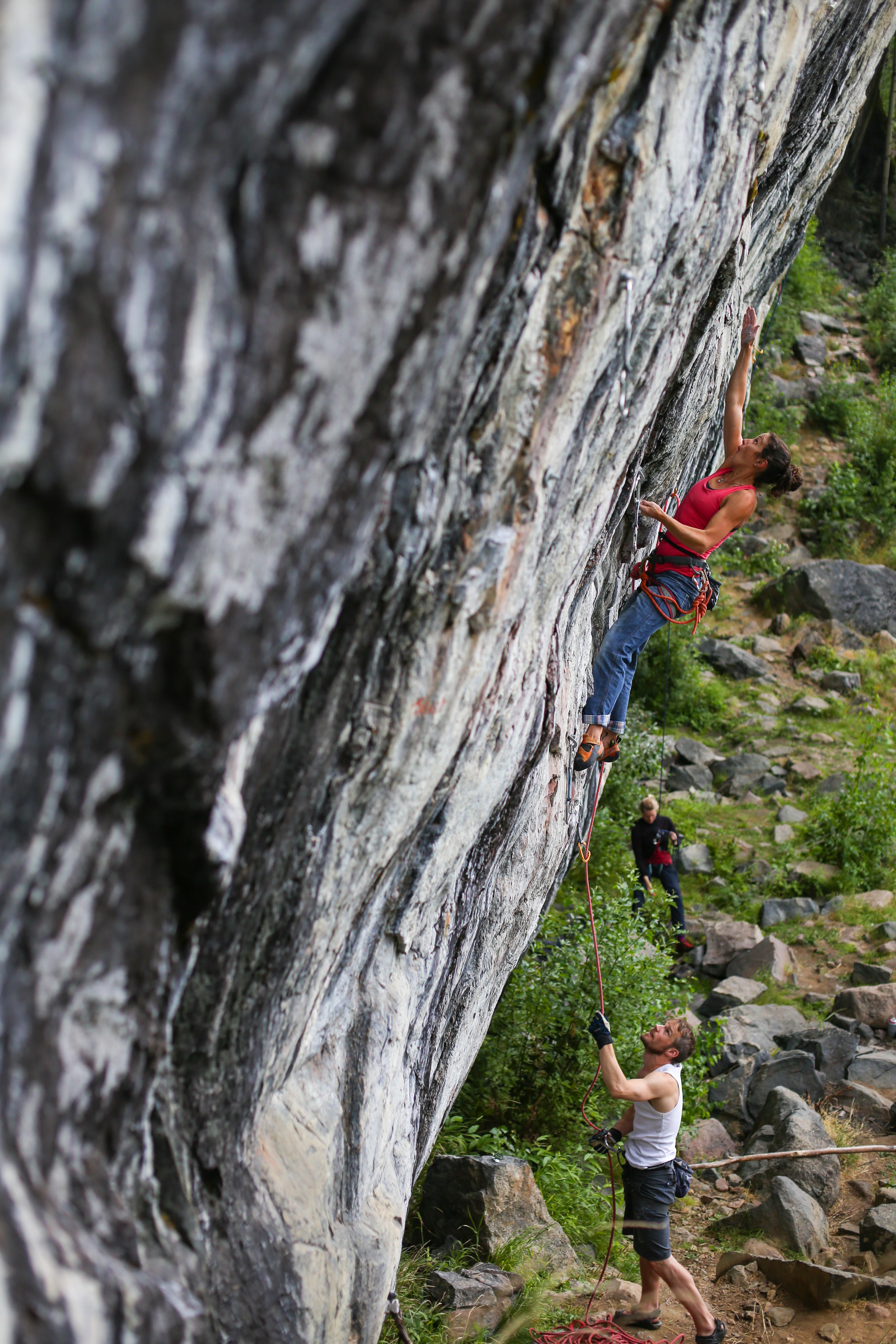 Amelie Desvars climbing in Niemisel, Sweden.