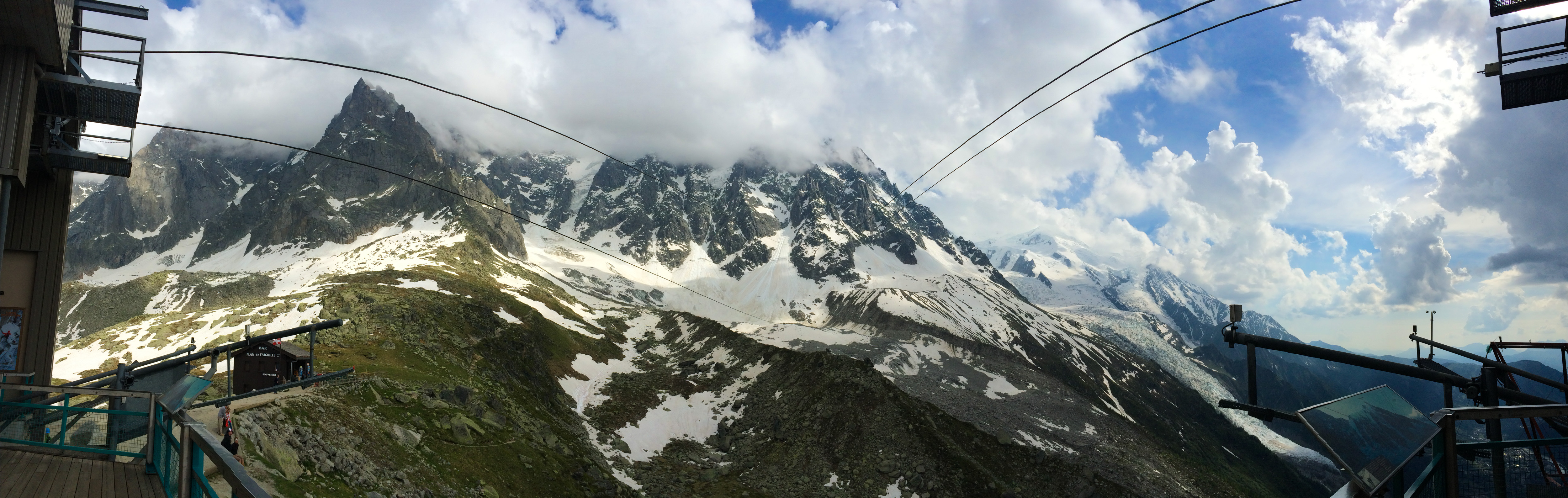 Cable car up to Mont Blanc for my first real alpine climb.